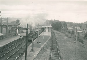 Derry bound goods train in Dungannon Station